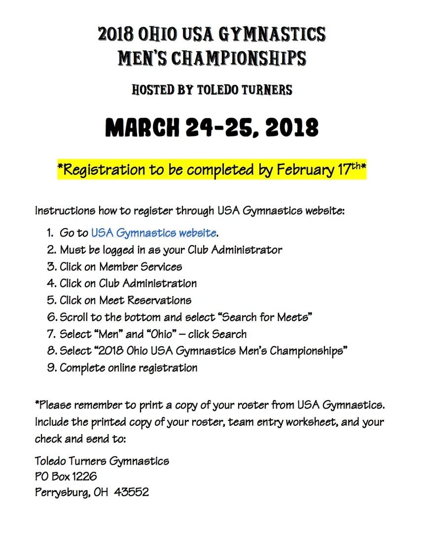 2018 OHIO USA GYMNASTICS REGISTRATION INFO