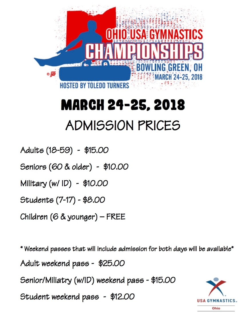 2018 OHIO USA GYMNASTICS ADMISSION PRICES